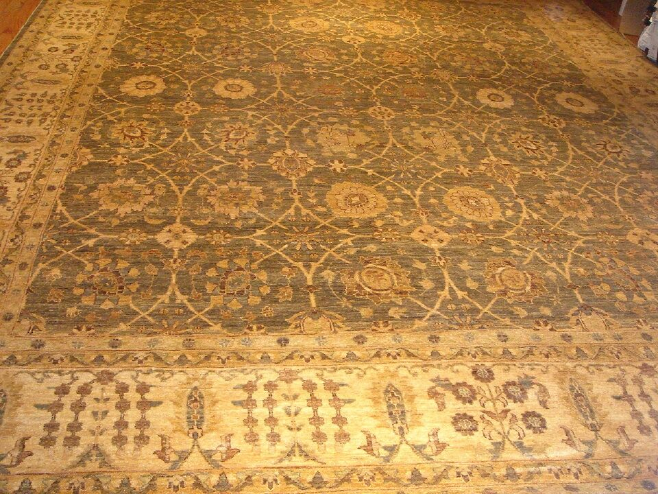 Ferehan Hand-Knotted Light Green/Beige Area Rug