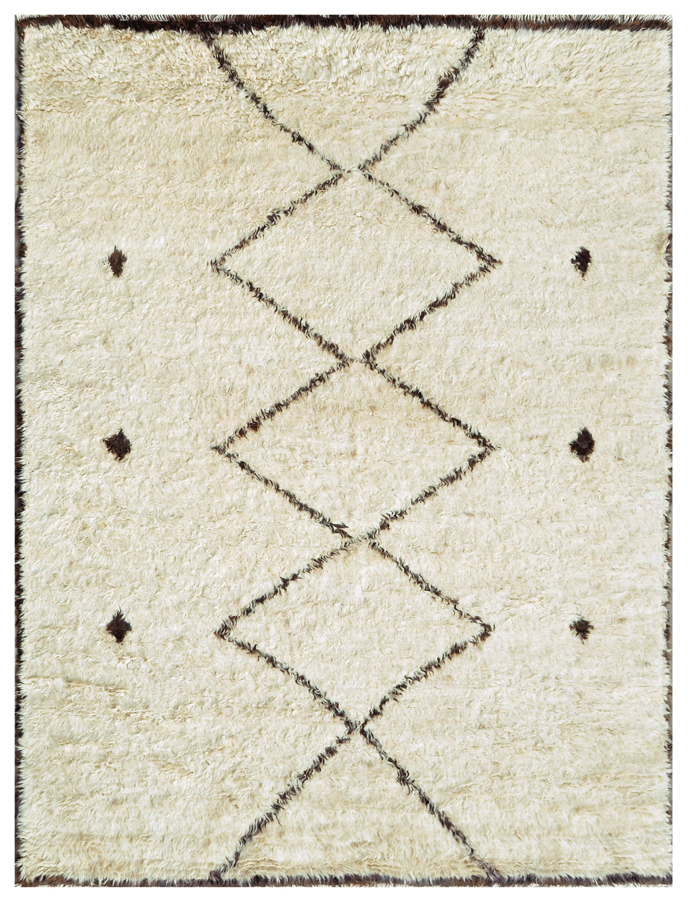 Moroccan Hand-Knotted Ivory Area Rug Rug Size: 8' x 9'11