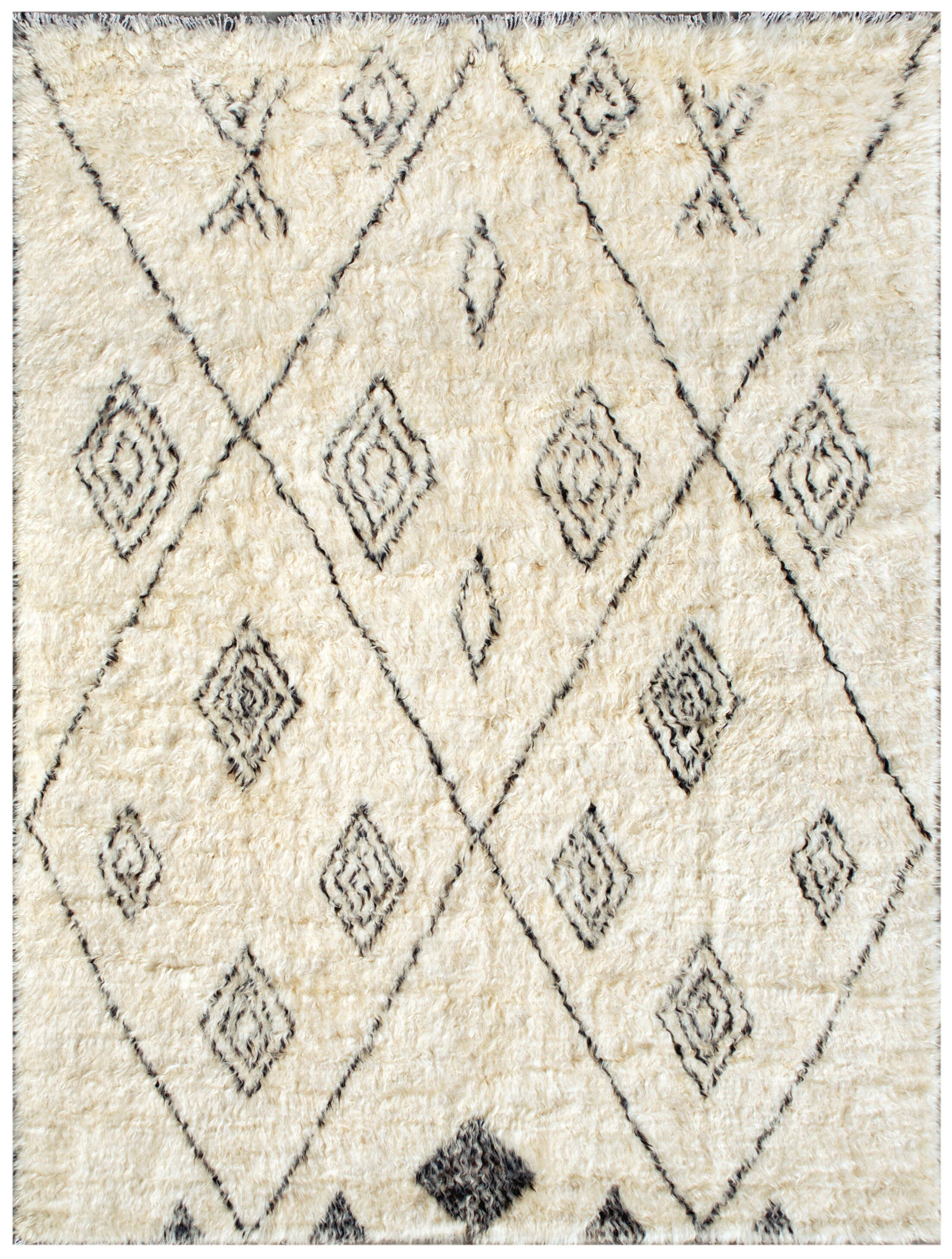 Moroccan Hand-Knotted Ivory Area Rug Rug Size: Rectangle 5'11