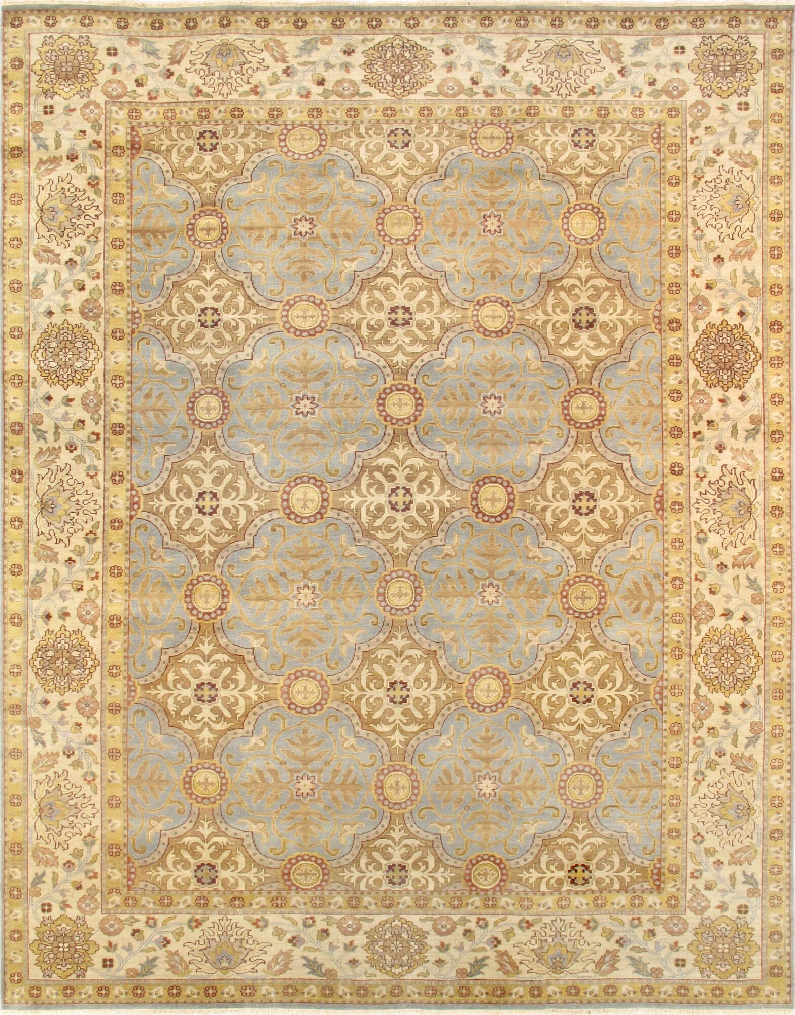 Sultanabad Hand-Knotted Wool Yellow/Gray Area Rug Rug Size: Square 9'10