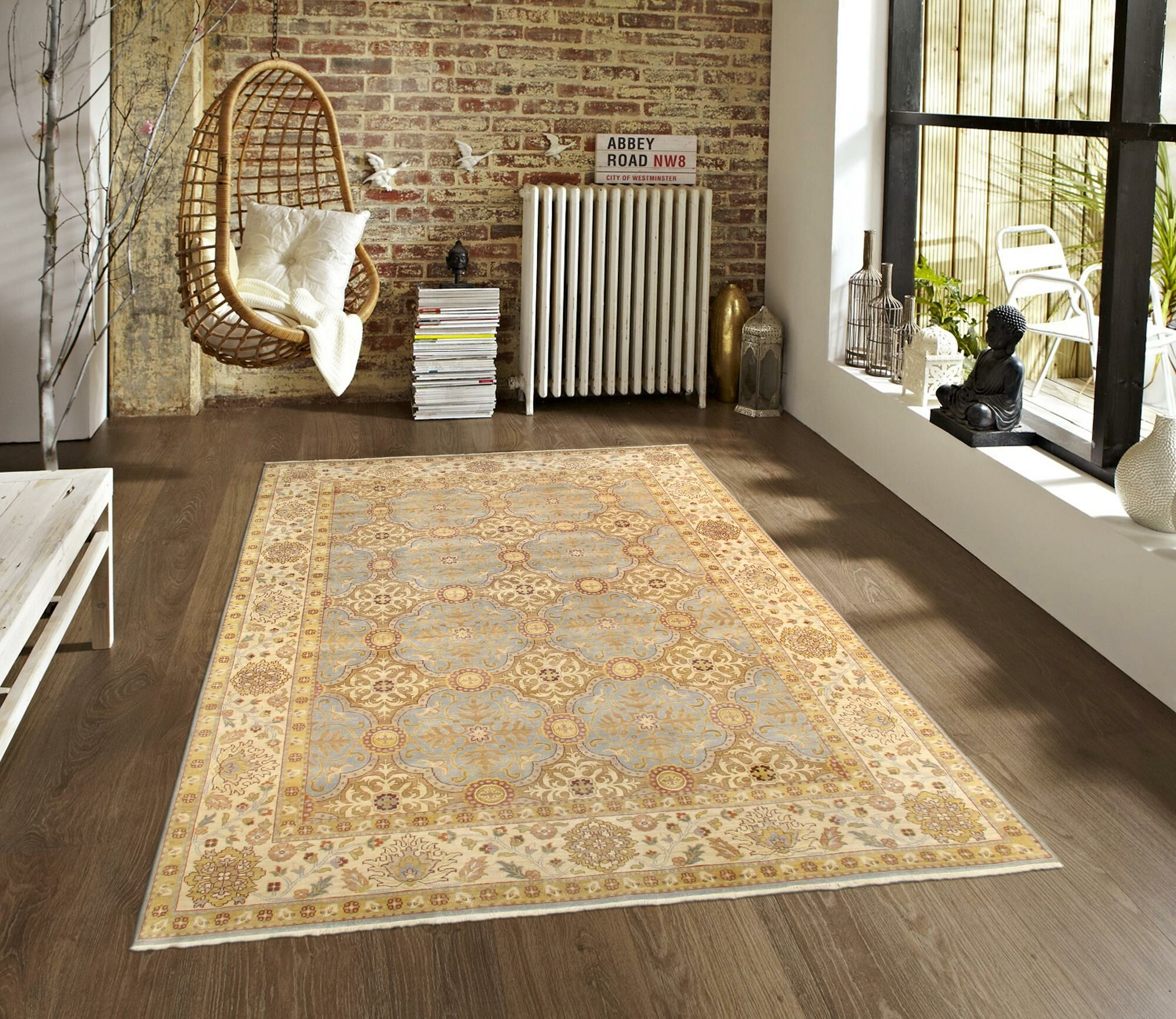 Sultanabad Handknotted Wool Beige Area Rug Rug Size: Square 12' x 12'