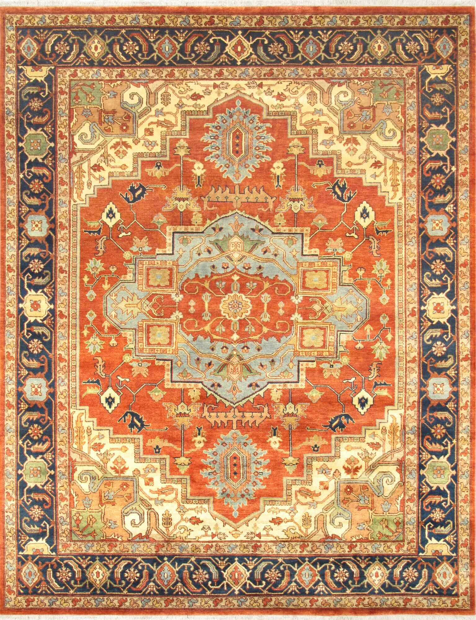 Serapi Hand-Knotted Rust/Navy Area Rug