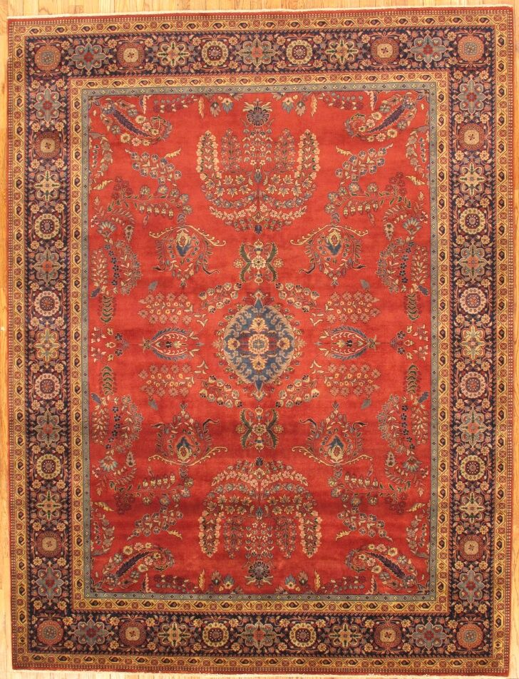 Sarouk Hand-Knotted Rust Area Rug Rug Size: Rectangle 8' x 10'