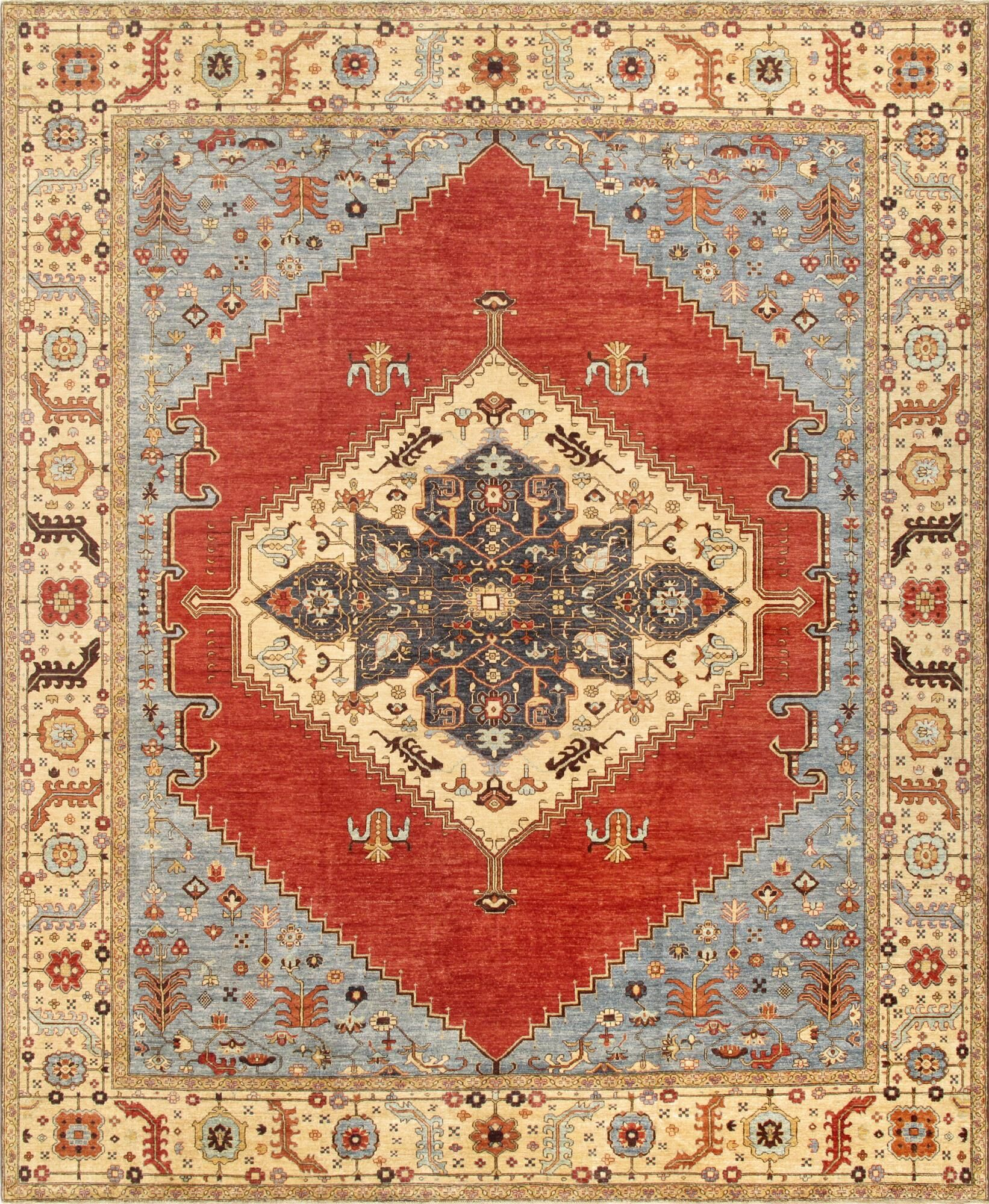 Serapi Hand-Knotted Rust Area Rug Rug Size: 12'2