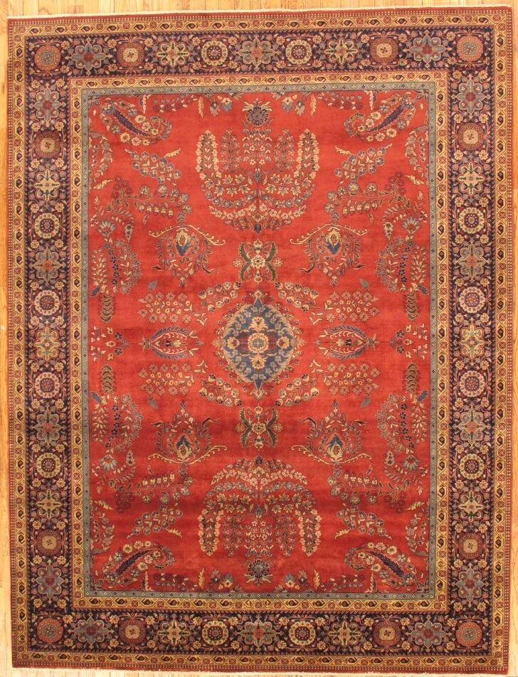 Sarouk Hand-Knotted Rust Area Rug Rug Size: Rectangle 4' x 6'