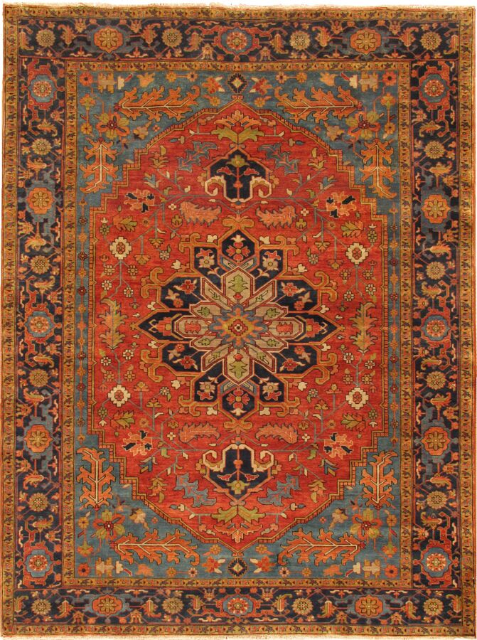 Serapi Hand-Knotted Rust/Navy Area Rug Rug Size: 7'11