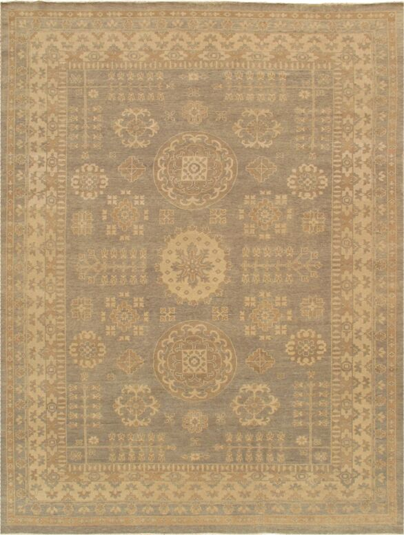 Khotan Hand-Knotted Light Gray/Beige Area Rug Rug Size: Rectangle 10' x 14'