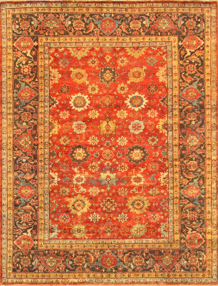 Mahal Hand-Knotted Rust/Brown Area Rug Rug Size: 8' x 9'10