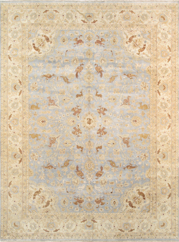 Tabriz Hand-Knotted Light Blue/Beige Area Rug