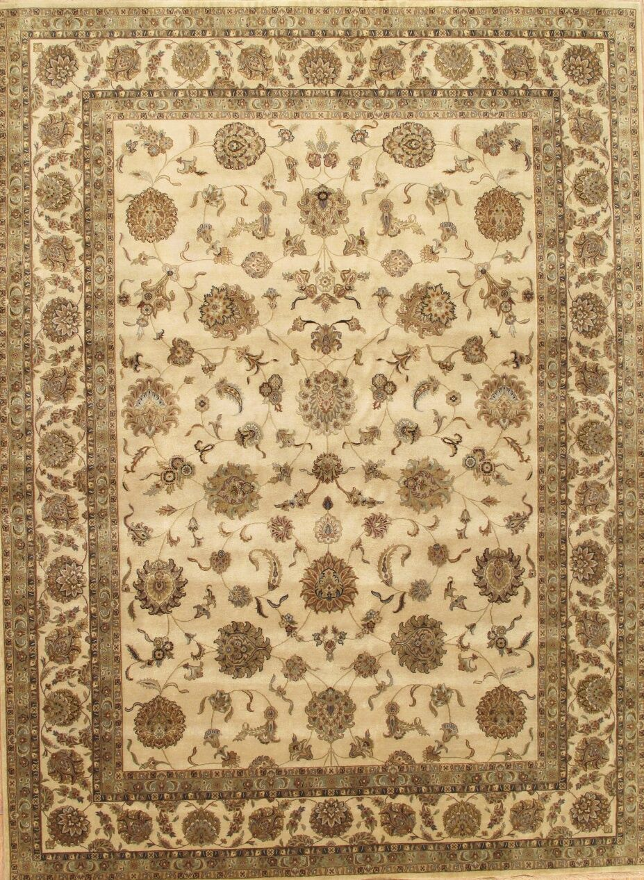 Tabriz Hand-Knotted Ivory/Brown Area Rug