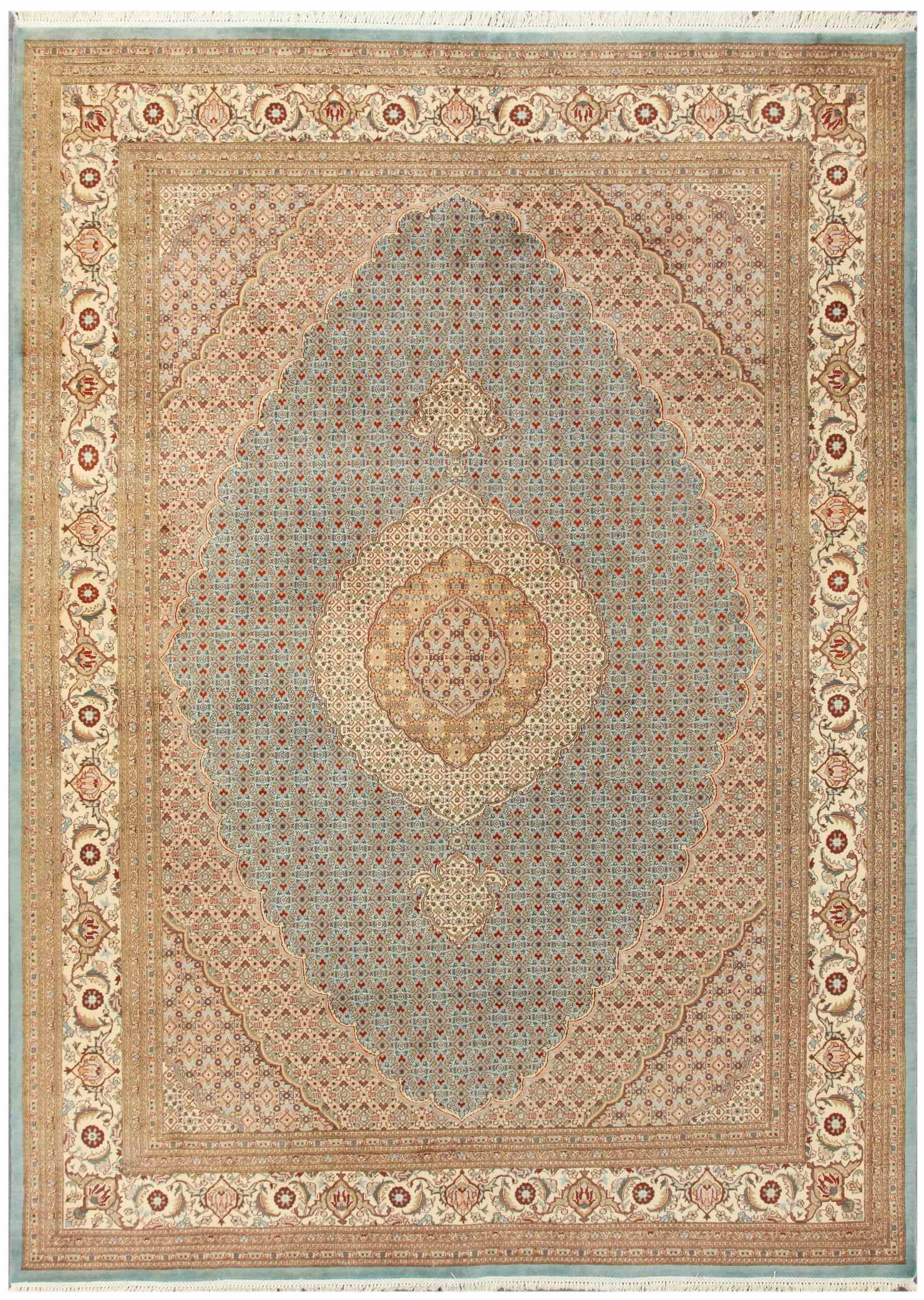 Tabriz Hand-Knotted Light Blue/Ivory Area Rug