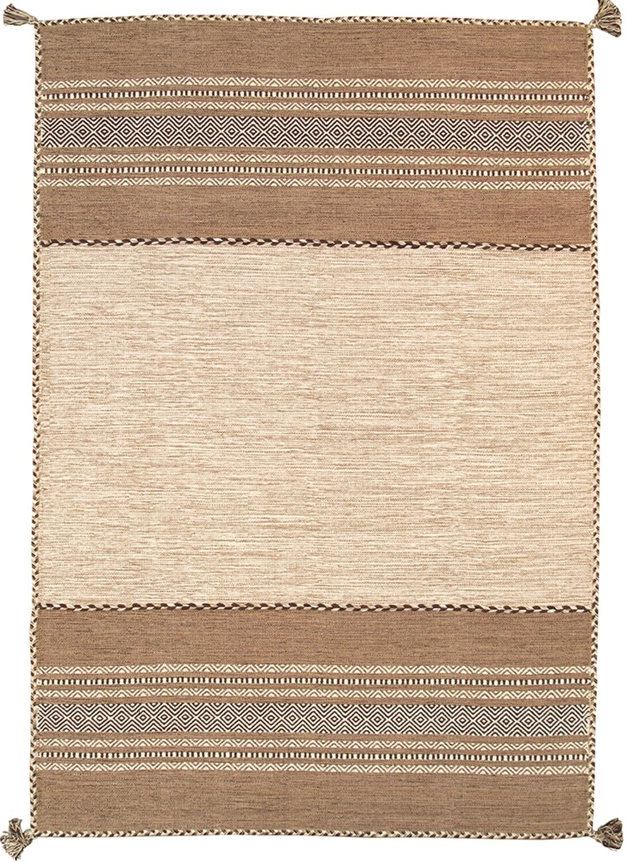 Kilim Hand-Woven Ivory Area Rug Rug Size: 5' x 8'