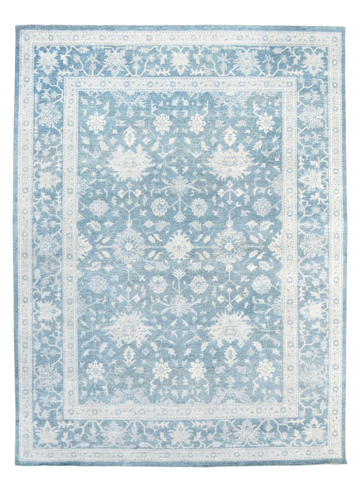 Oushak Hand-Knotted Blue Area Rug Rug Size: Rectangle 12' x 15'