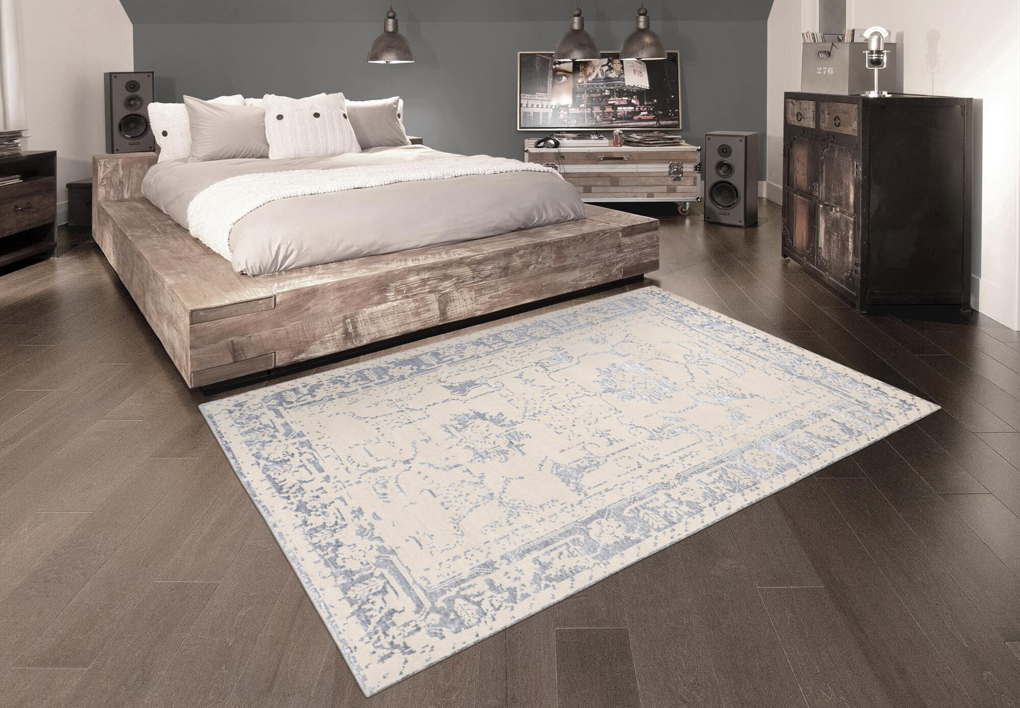 Hand-Knotted Beige Area Rug Rug Size: Rectangle 6' x 9'