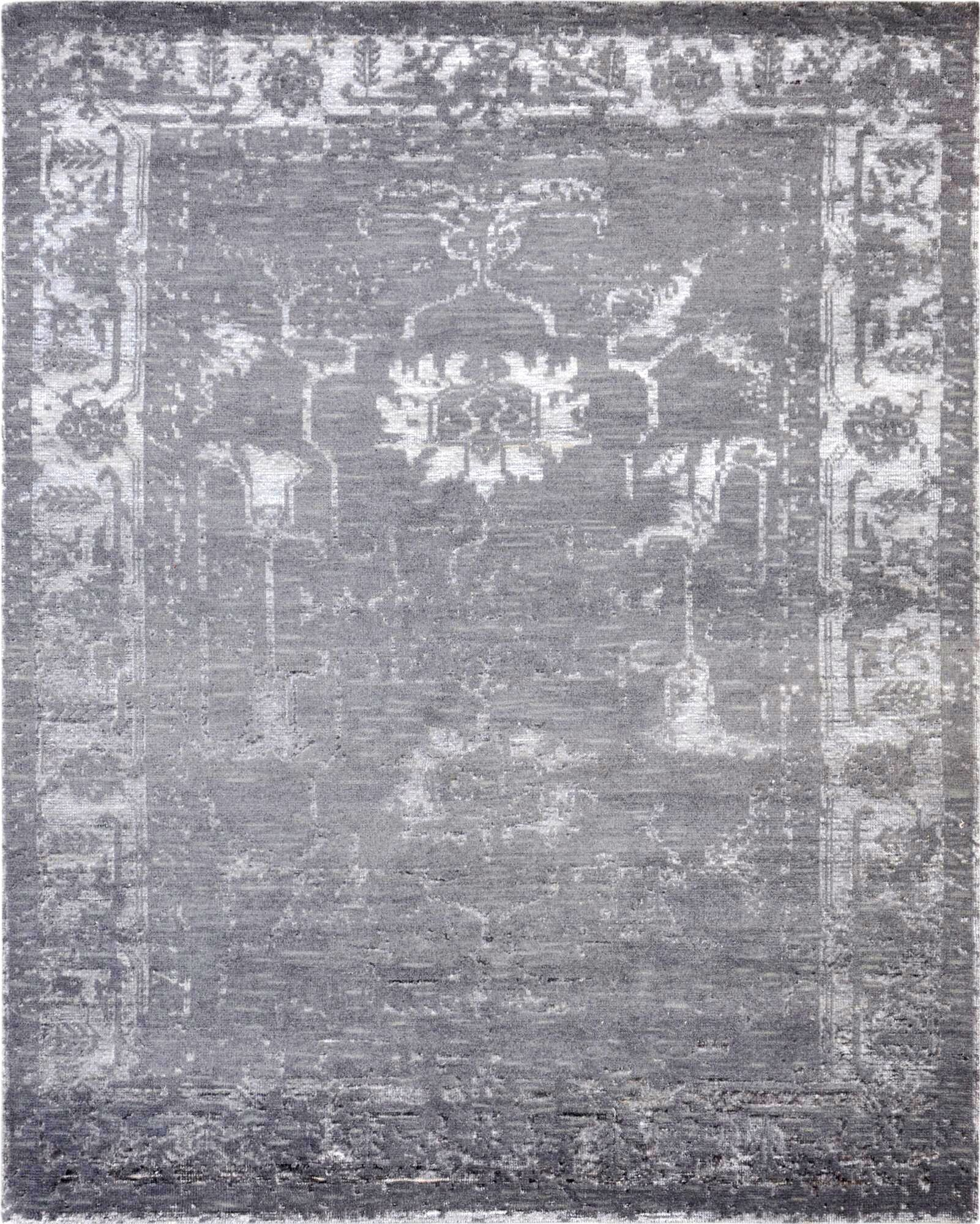 Hand-Knotted Wool Gray Area Rug Rug Size: Rectangle 9' x 12'