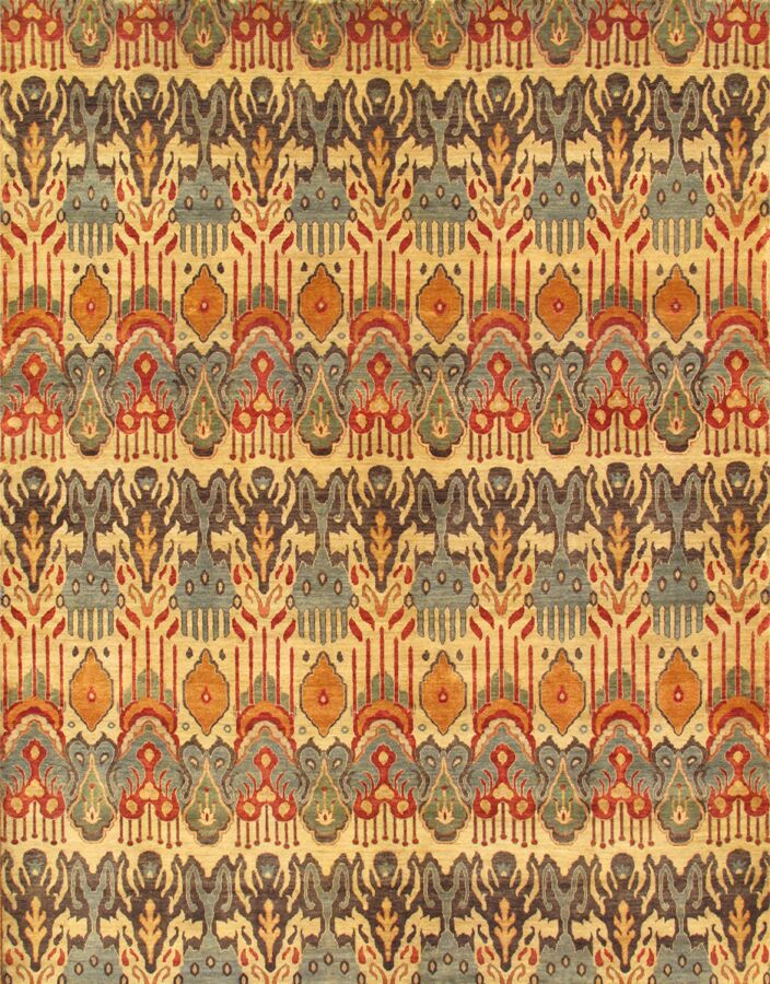 Ikat Hand-Knotted Light Gold/Gray Area Rug