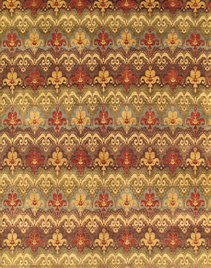 Ikat Hand-Knotted Brown/Red Area Rug Rug Size: 12' x 15'