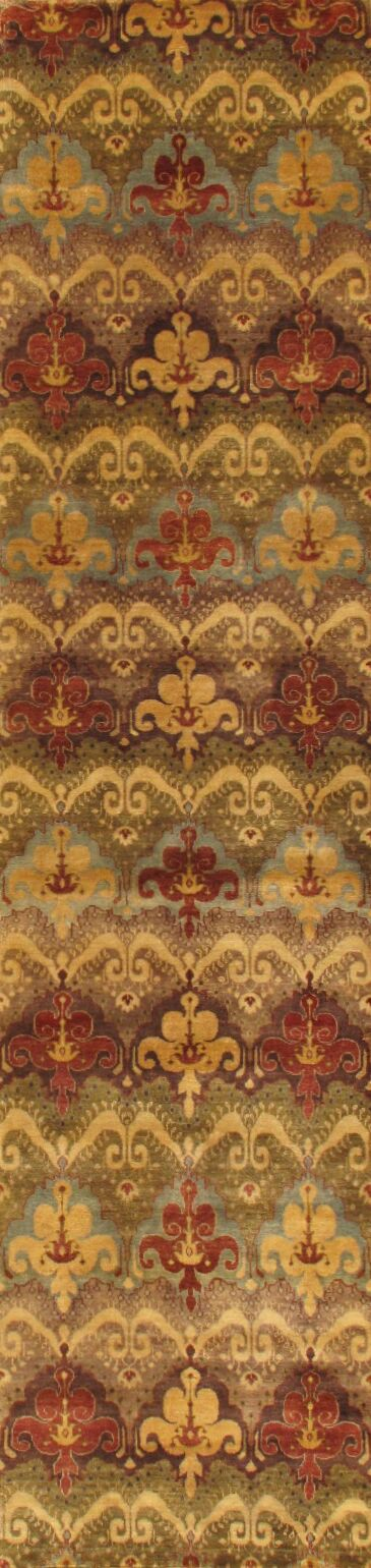 Ikat Hand-Knotted Brown/Red Area Rug Rug Size: Runner 2'9