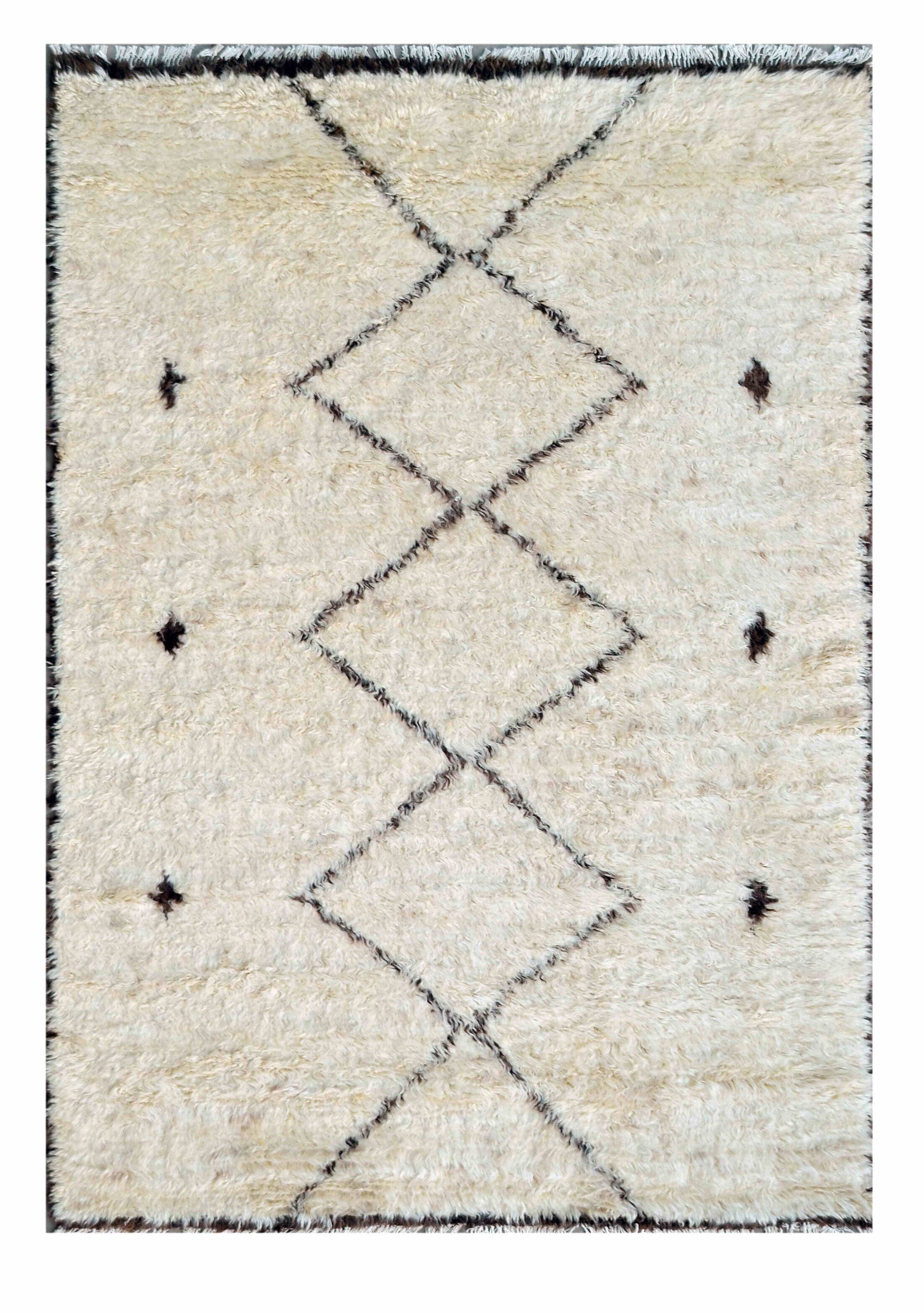 Moroccan Wool Hand-Knotted Beige Area Rug Rug Size: 6' x 9'3