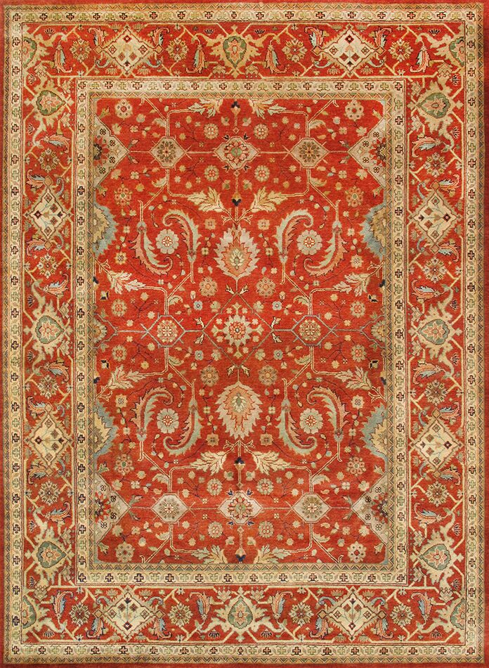 Mahal Hand-Knotted Rust/Beige Area Rug