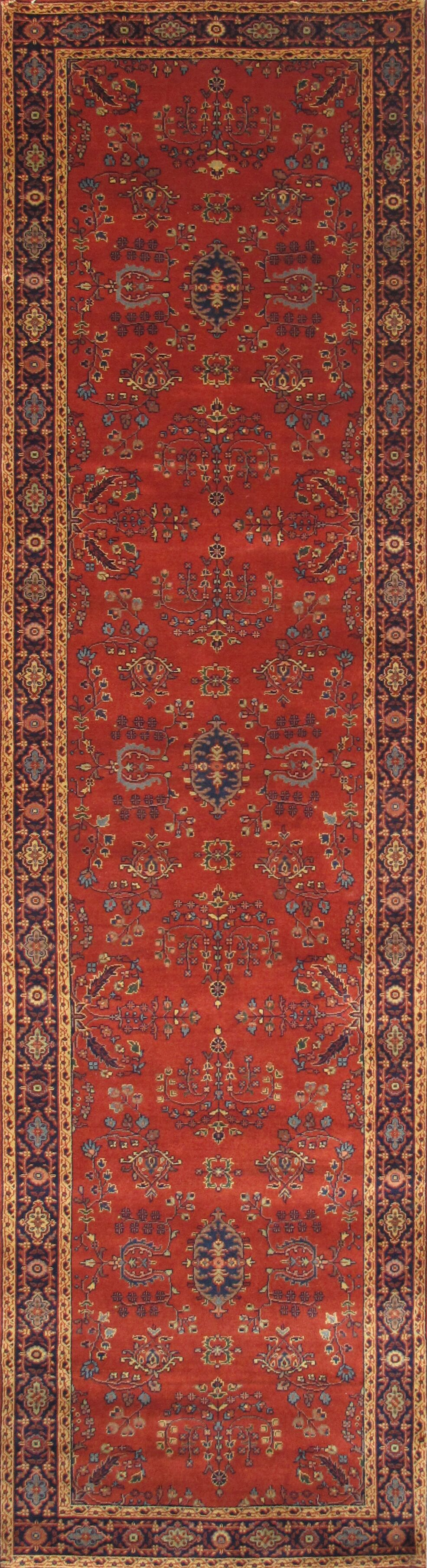 Sarouk Hand-Knotted Rust Area Rug Rug Size: Runner 2'6