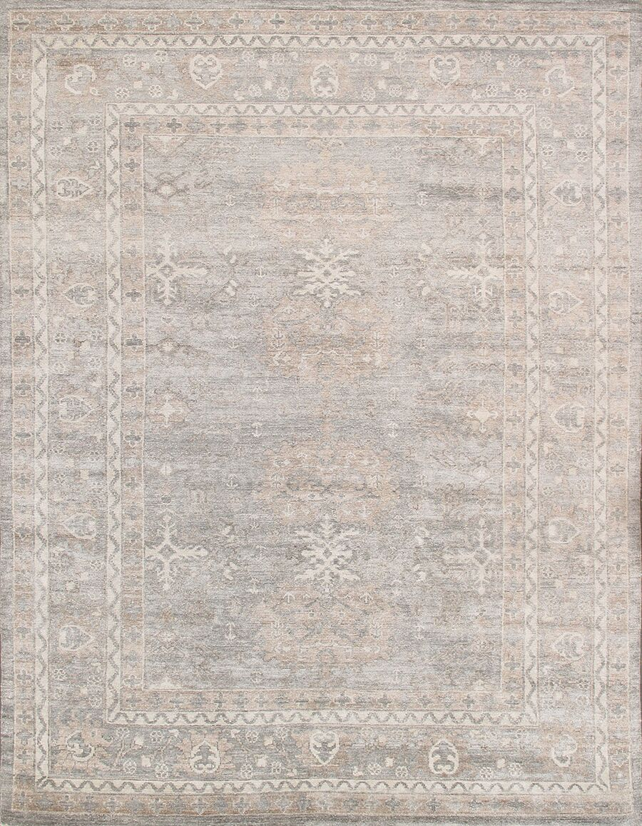 Oushak Hand-Knotted Gray Area Rug Rug Size: Rectangle 8' x 10', Material: Silk