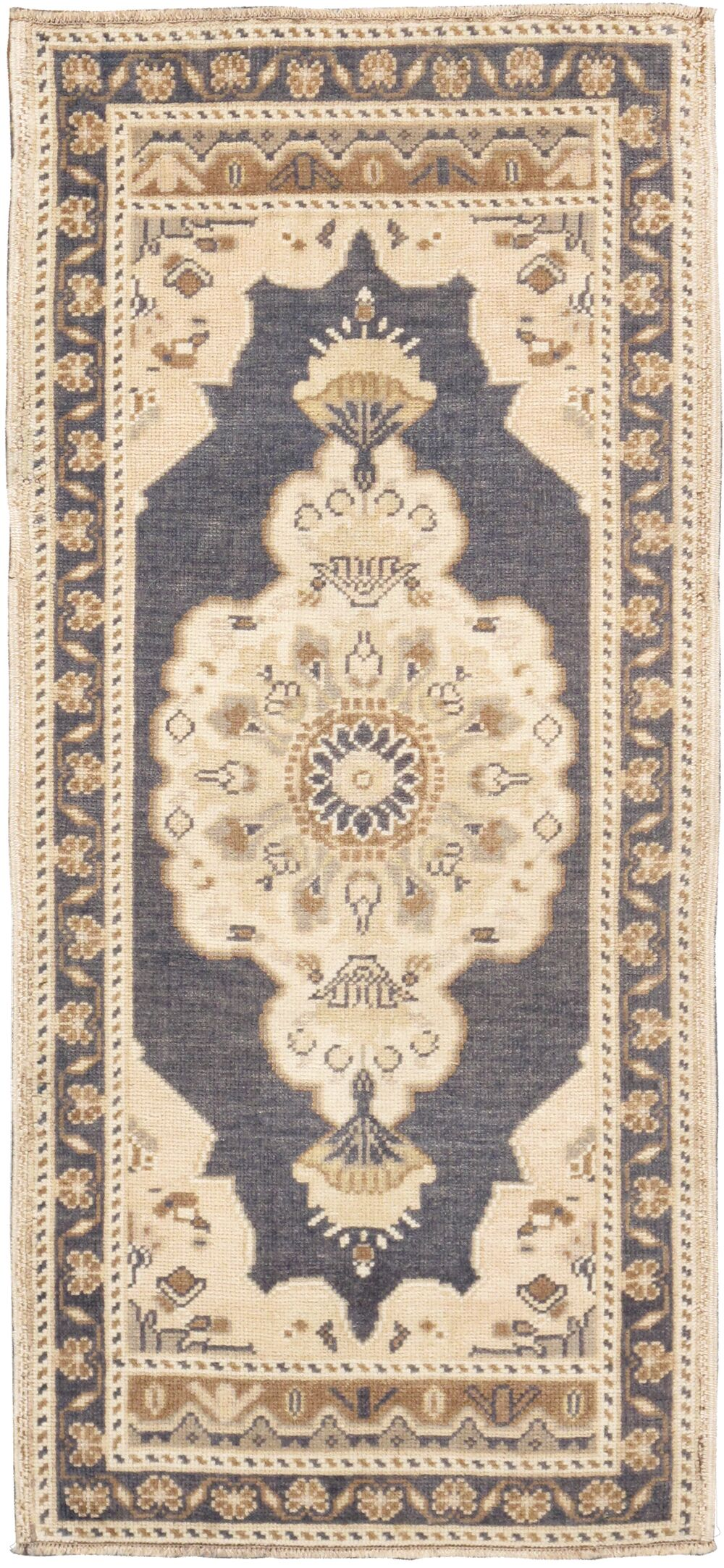 Oushak Lamb's Wool Hand-Knotted Beige/Gray Area Rug