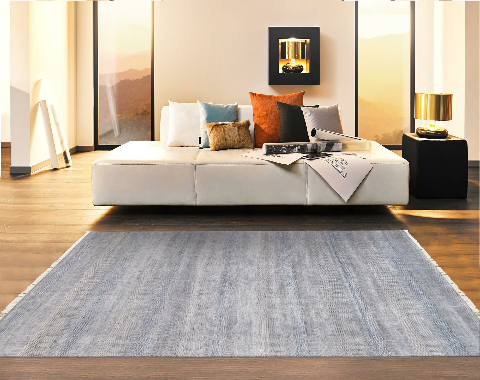 Transitional Hand-Knotted Silk Gray Area Rug