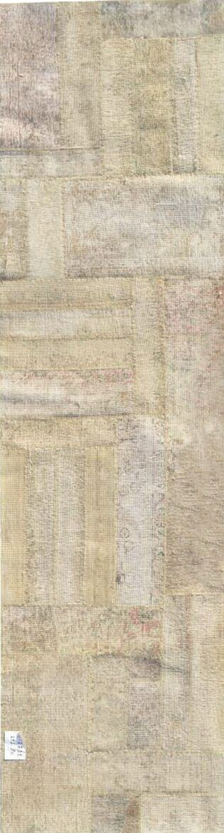 Patchwork Hand Knotted Wool Beige Area Rug