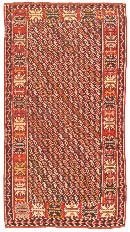 Kilim Antique Hand Woven Navy/Rust Wool Area Rug