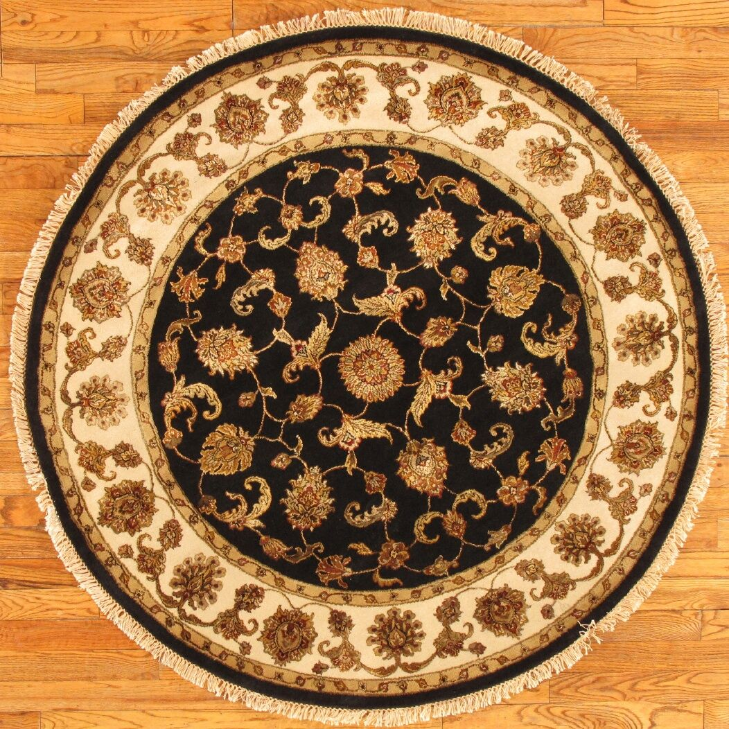 Agra Hand Knotted Silk/Wool Black/Ivory Area Rug