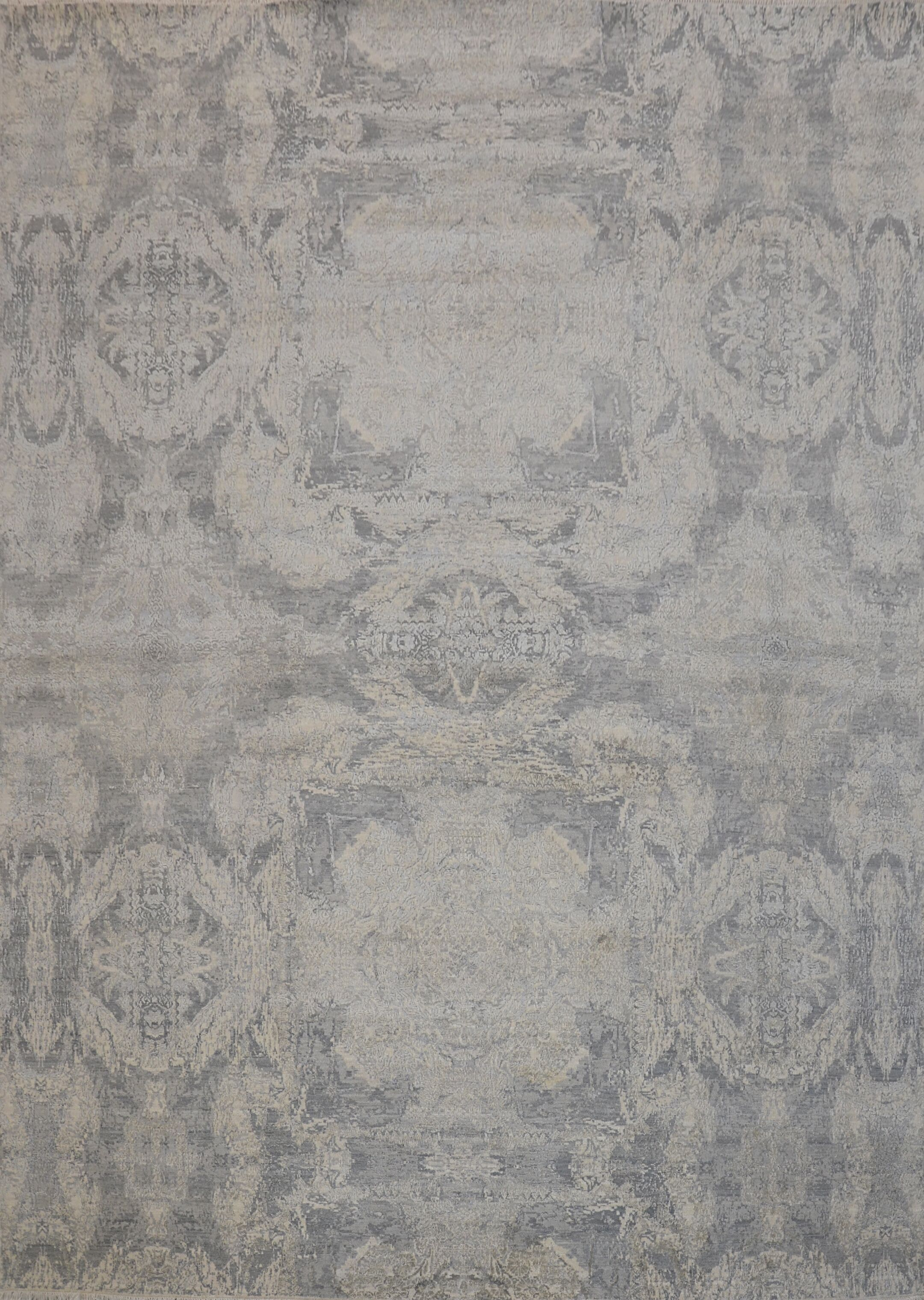 Transitional Hand-Knotted Wool, Silk Gray Area Rug