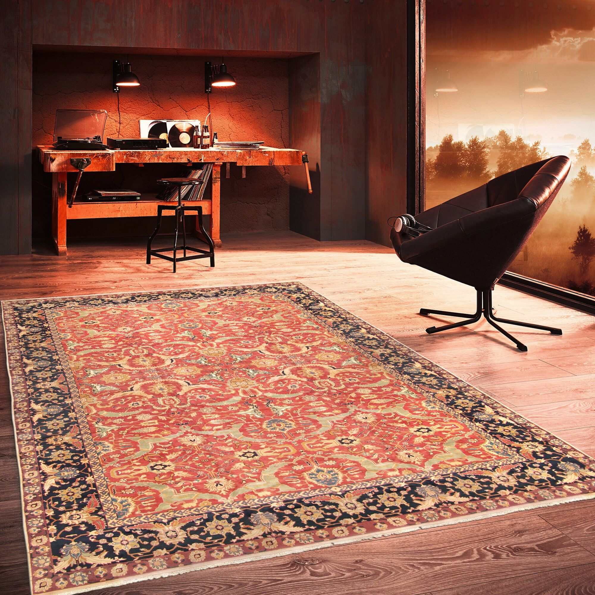 Agra Hand-Knotted Wool Rust/Navy Area Rug