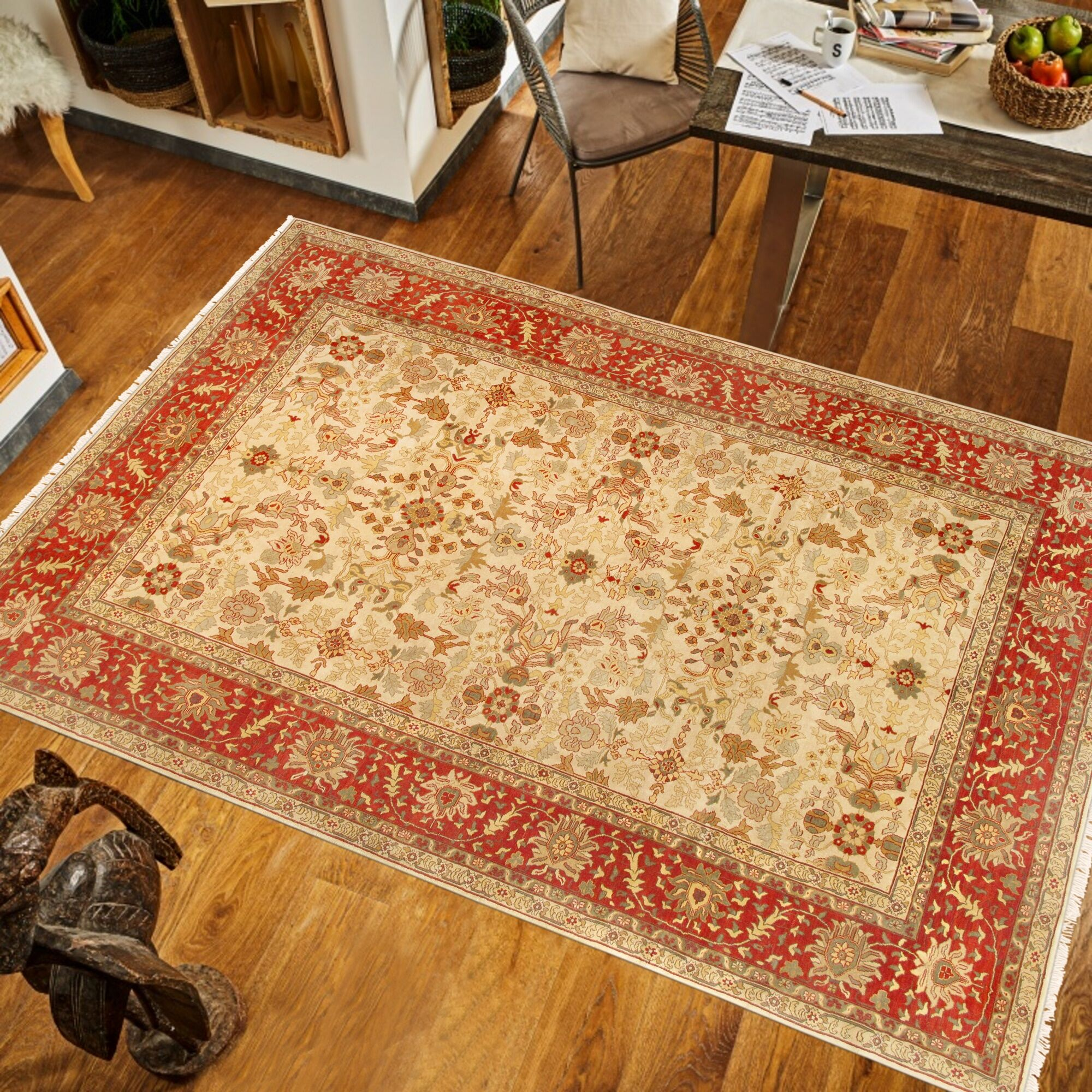 Sultanabad Hand-Knotted Wool Beige/Red Area Rug
