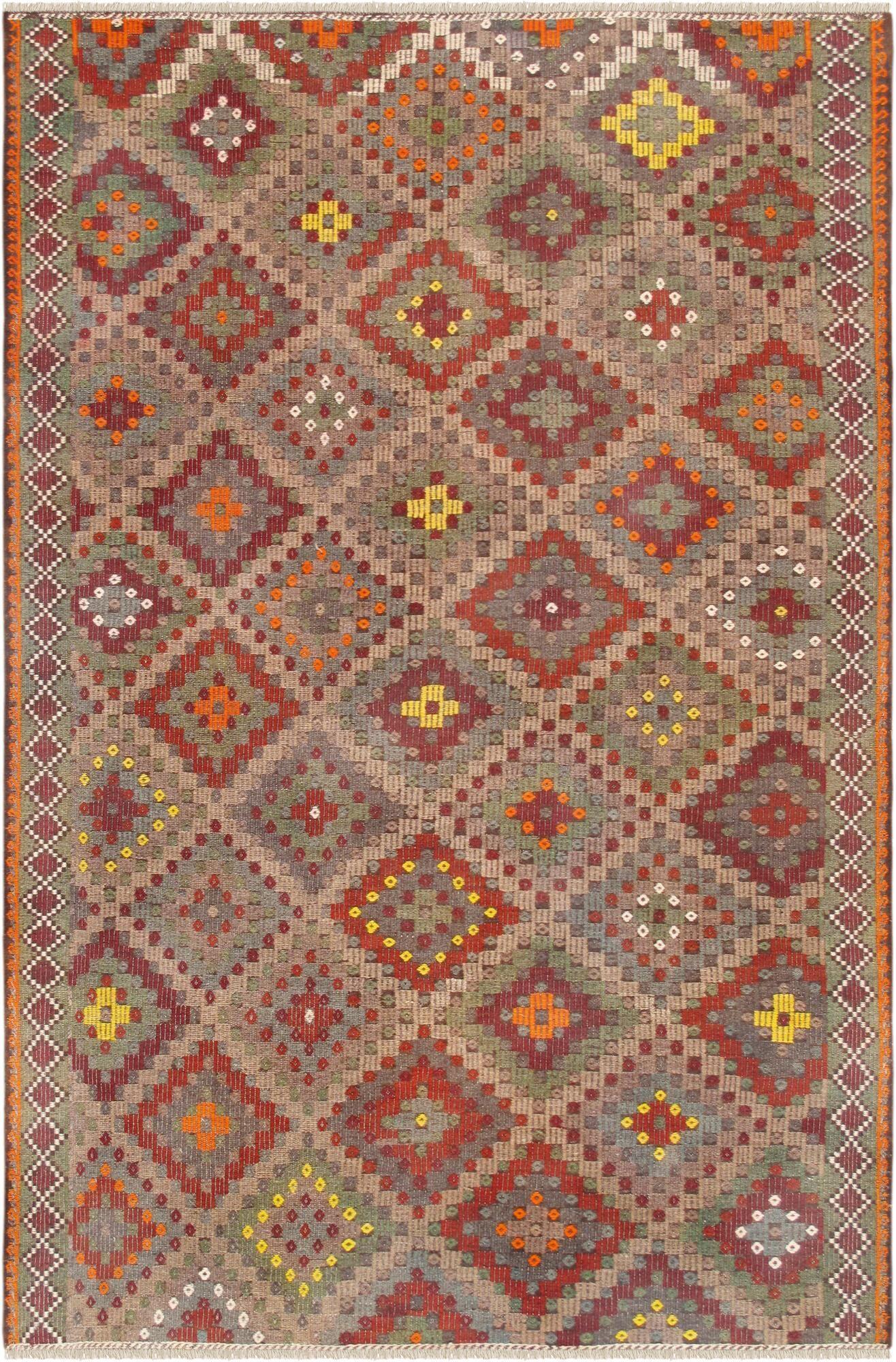 Vintage Kilim Hand-Woven Wool Beige/Red Area Rug