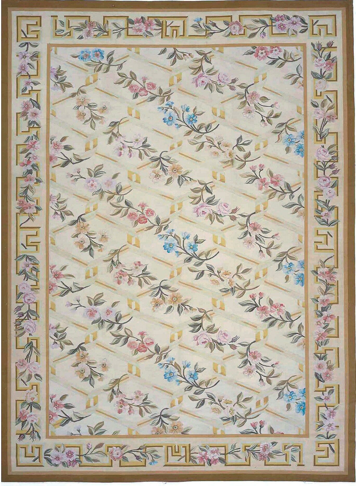 Aubusson Hand-Woven Wool Beige/Brown Area Rug Rug Size: Rectangle 9'2