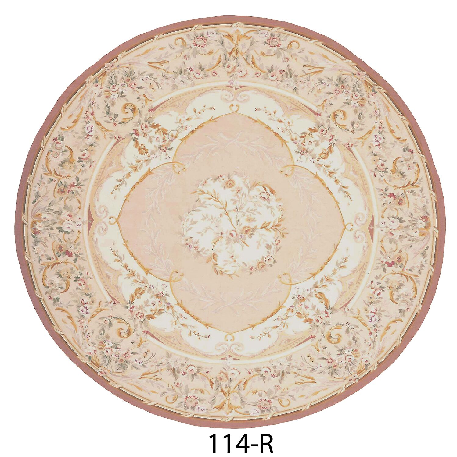 Aubusson Hand-Woven Wool Beige/Brown Area Rug Rug Size: Round 9'1
