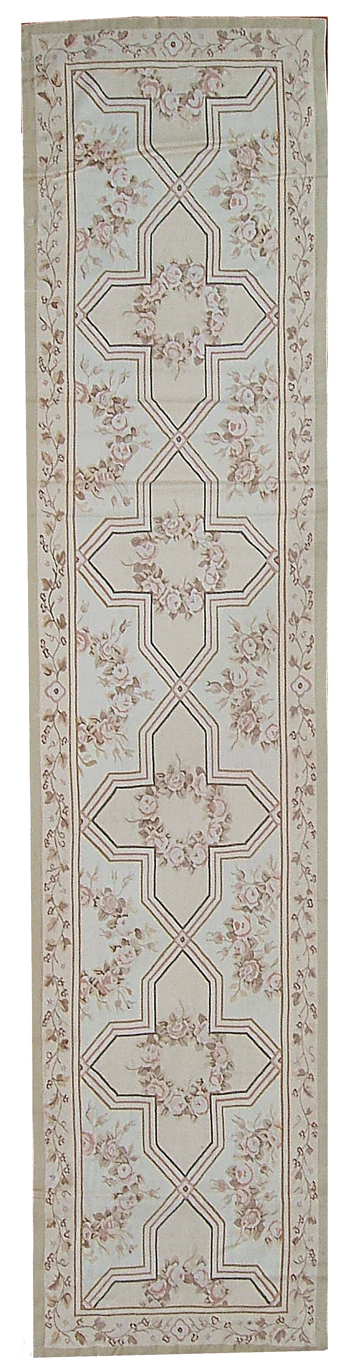 Aubusson Hand-Woven Wool Brown/Gray Area Rug Rug Size: Runner 2'1 x 12'3