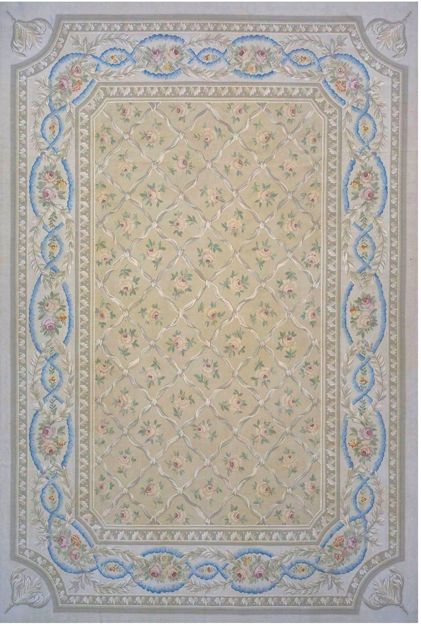Aubusson Hand-Woven Wool Beige/Brown/Blue Area Rug Rug Size: Rectangle 7'9