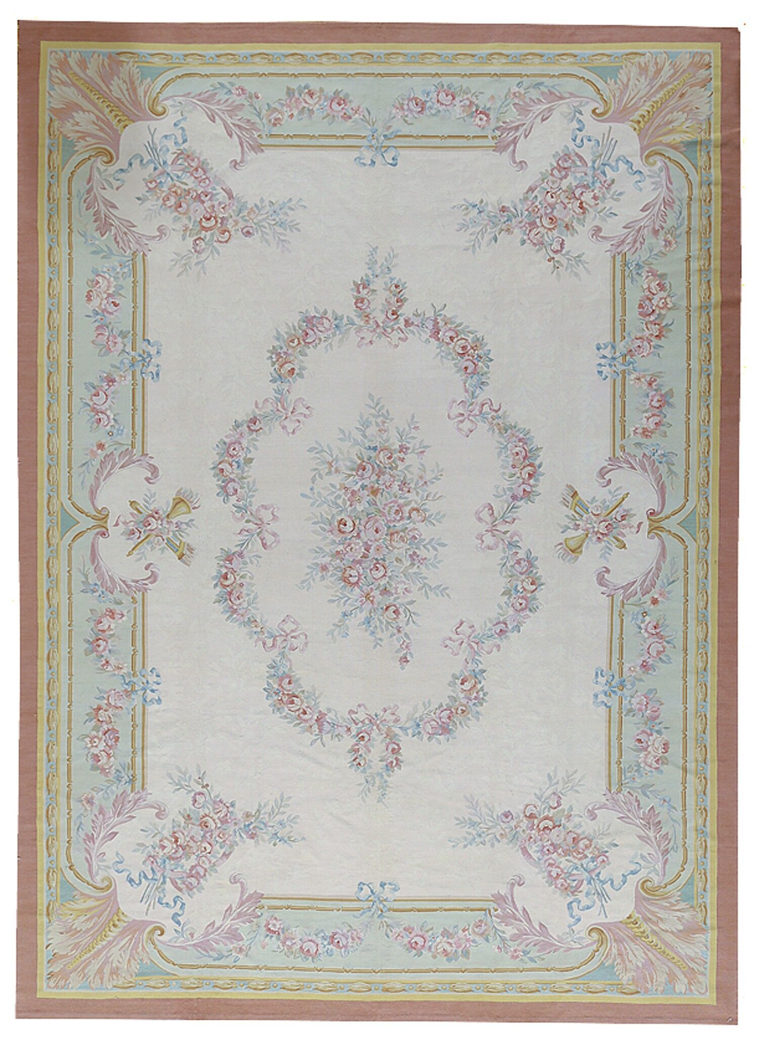 Aubusson Hand-Woven Wool Brown/Yellow/Beige Area Rug Rug Size: Rectangle 11'2