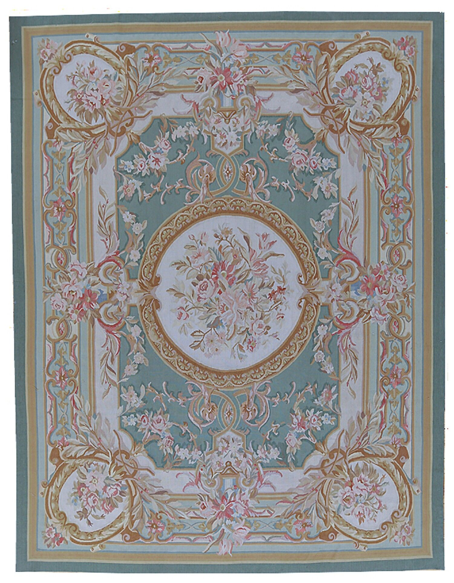 Aubusson Hand-Woven Wool Green/Brown Area Rug Rug Size: Rectangle 8' x 10'8