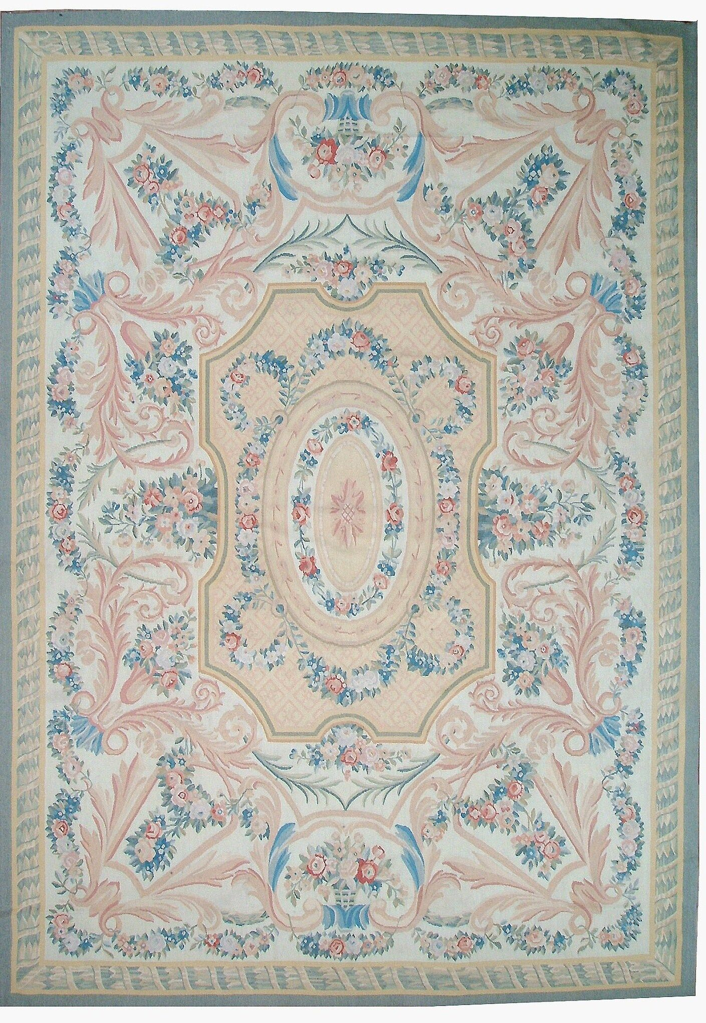 One-of-a-Kind Aubusson Hand-Woven Wool Blue/Beige/Peach Area Rug Rug Size: Rectangle 9'10
