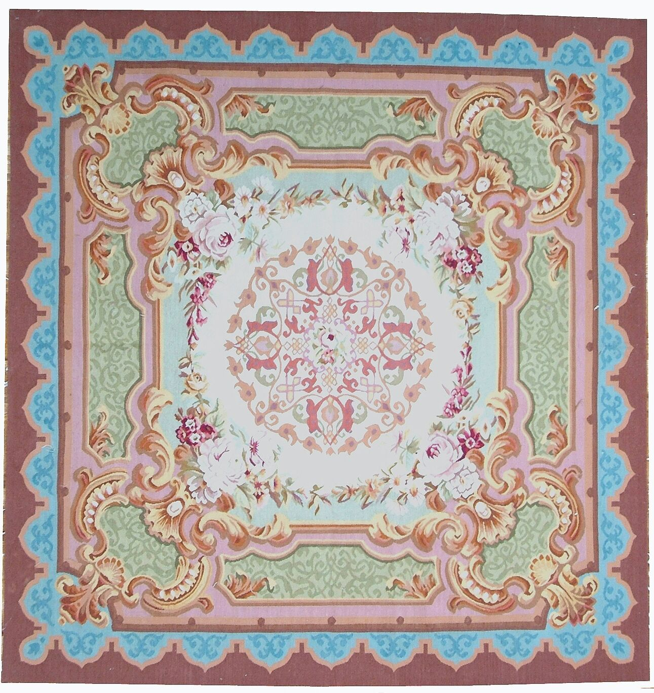 Aubusson Hand-Woven Wool Burgundy/Green/Blue Area Rug