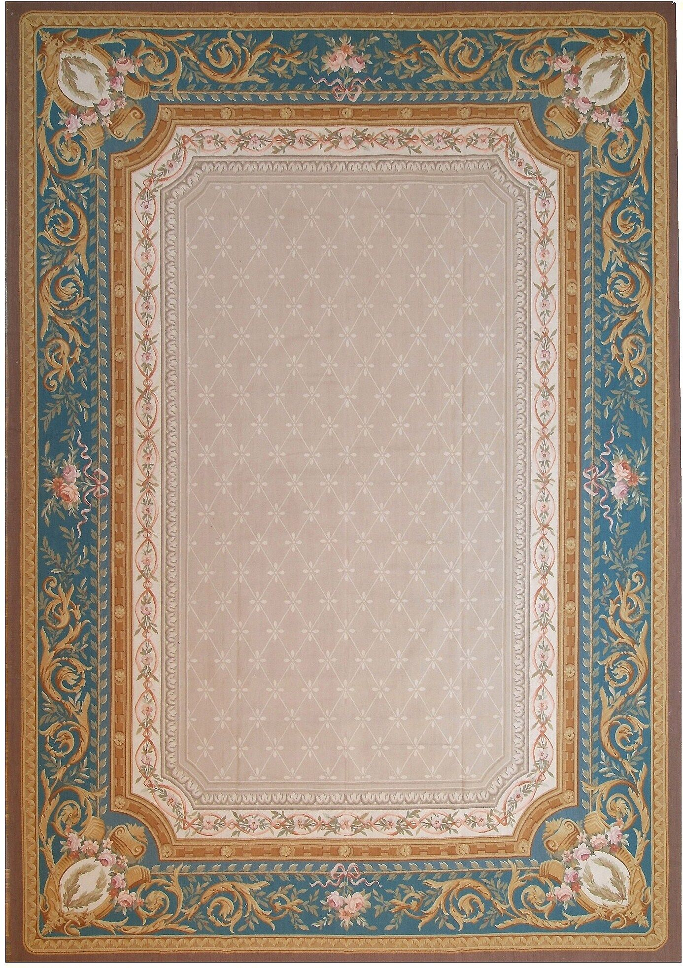 Aubusson Hand-Woven Wool Beige/Blue/Brown Area Rug
