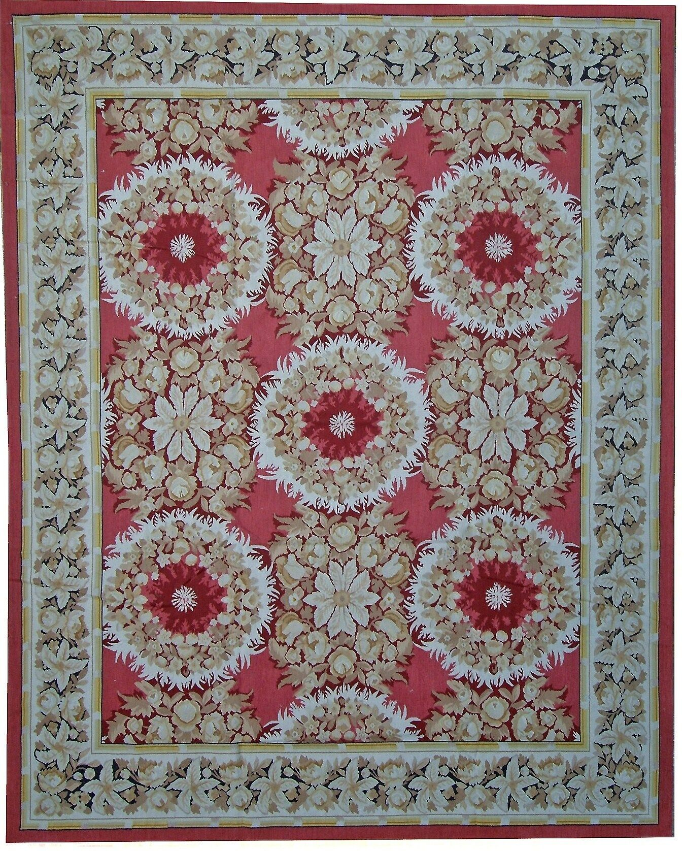 Aubusson Hand-Woven Wool Red/Blue/Green Area Rug Rug Size: Rectangle 9'10
