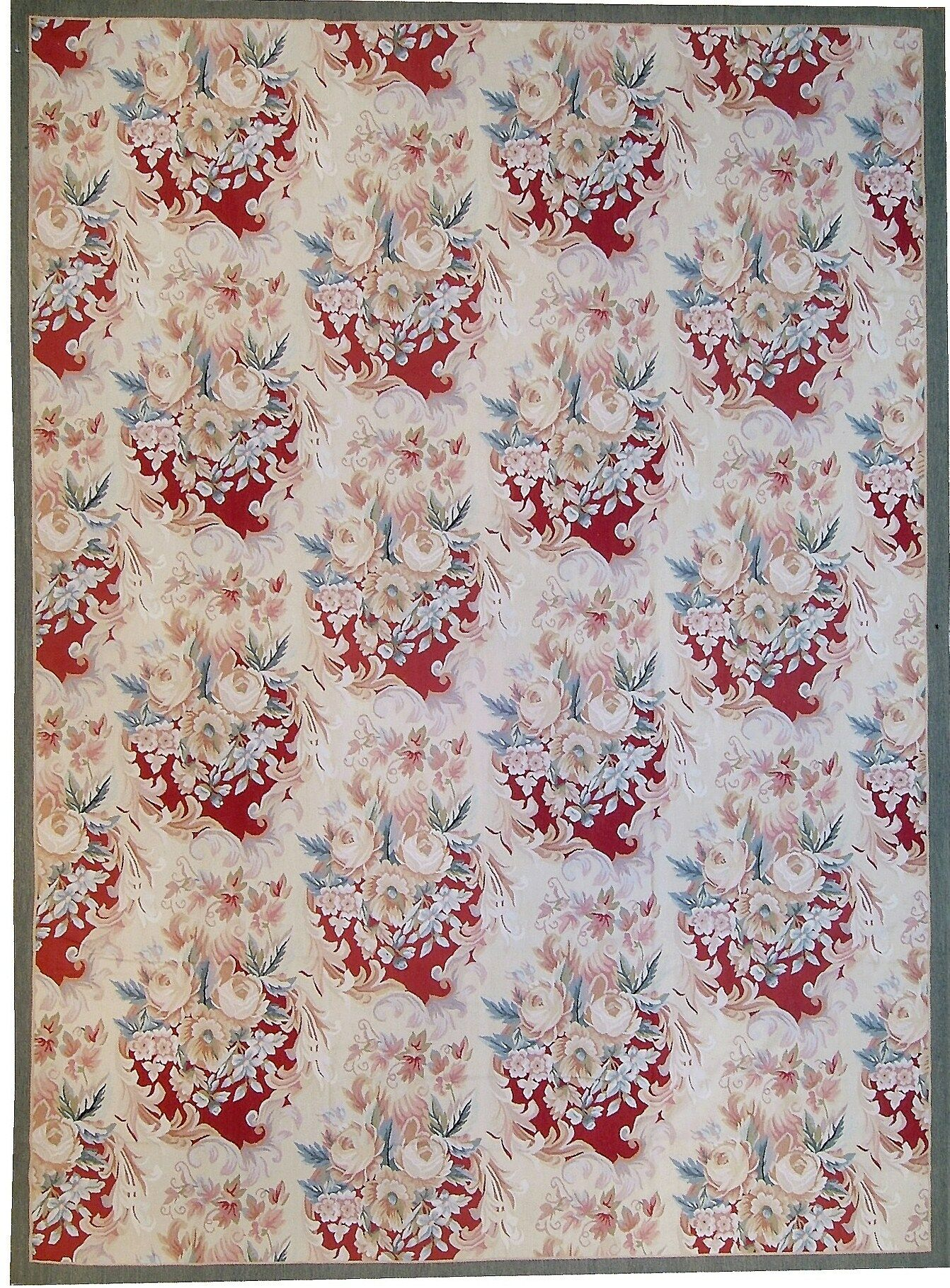 One-of-a-Kind Aubusson Hand Woven Wool Ivory Area Rug Rug Size: Rectangle 11' x 16'2