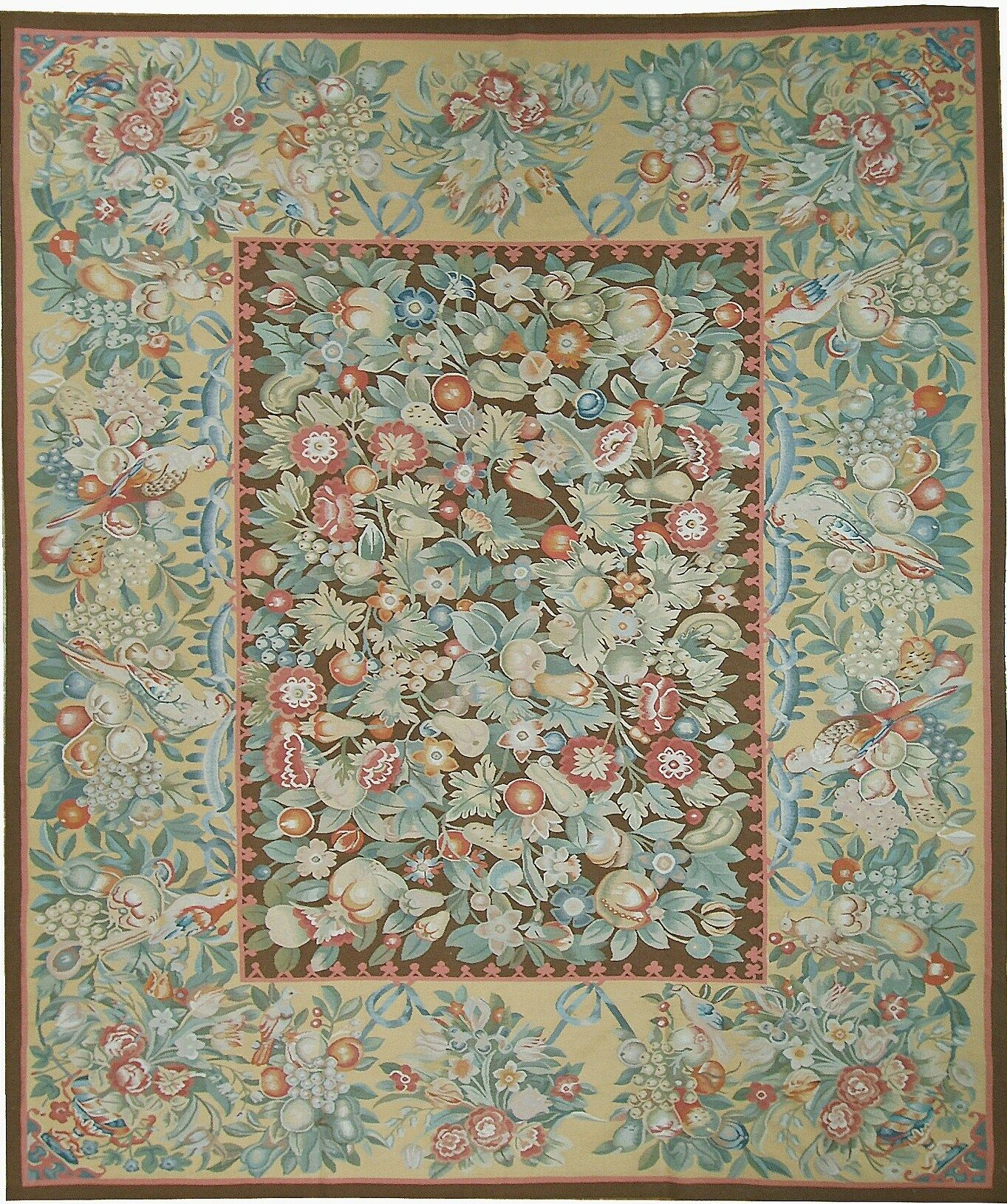 One-of-a-Kind Aubusson Hand Woven Wool Green/Beige Area Rug Rug Size: Rectangle 10'1