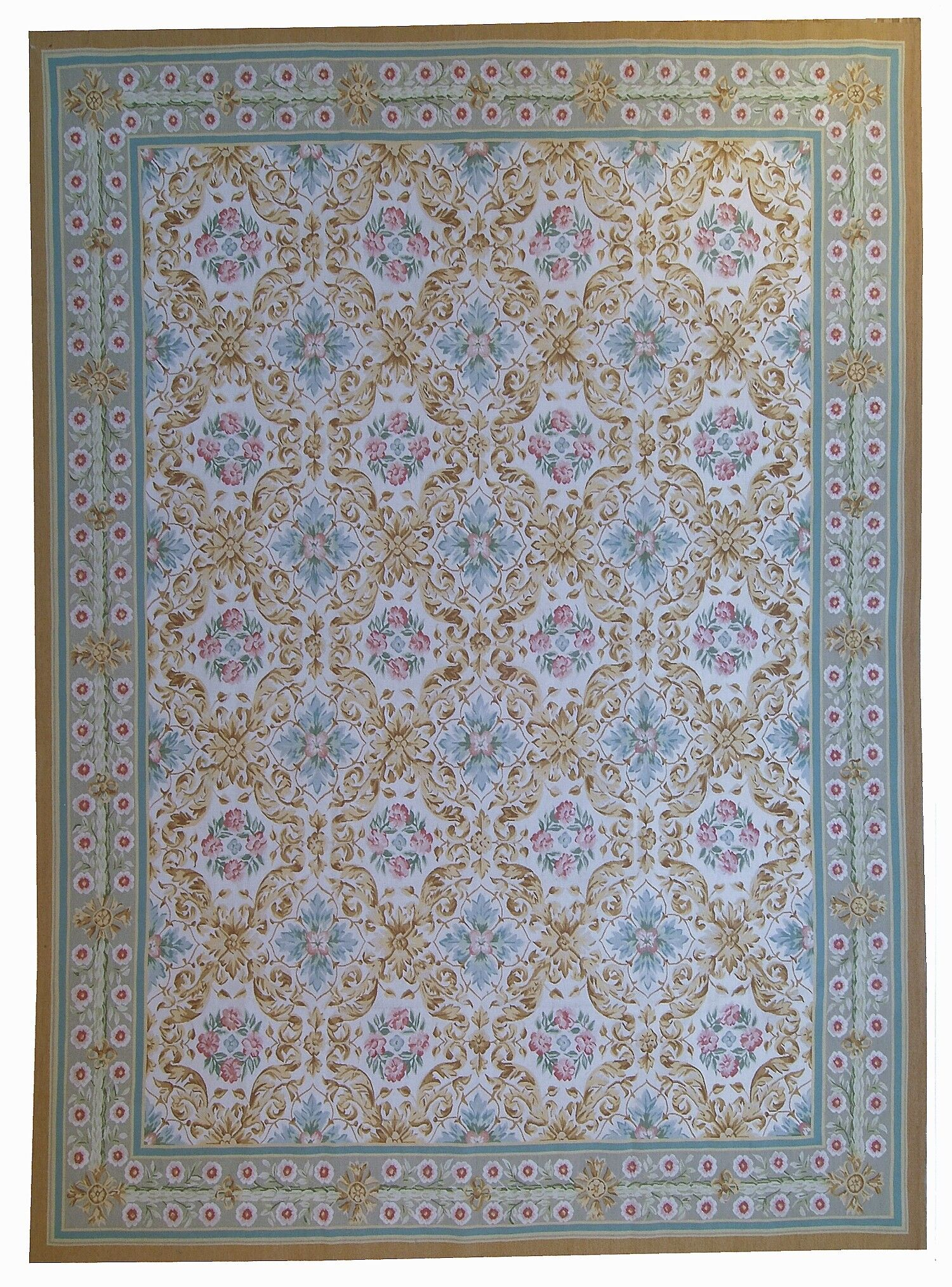 One-of-a-Kind Aubusson Hand Woven Wool Beige/Green Area Rug Rug Size: Rectangle 8'10