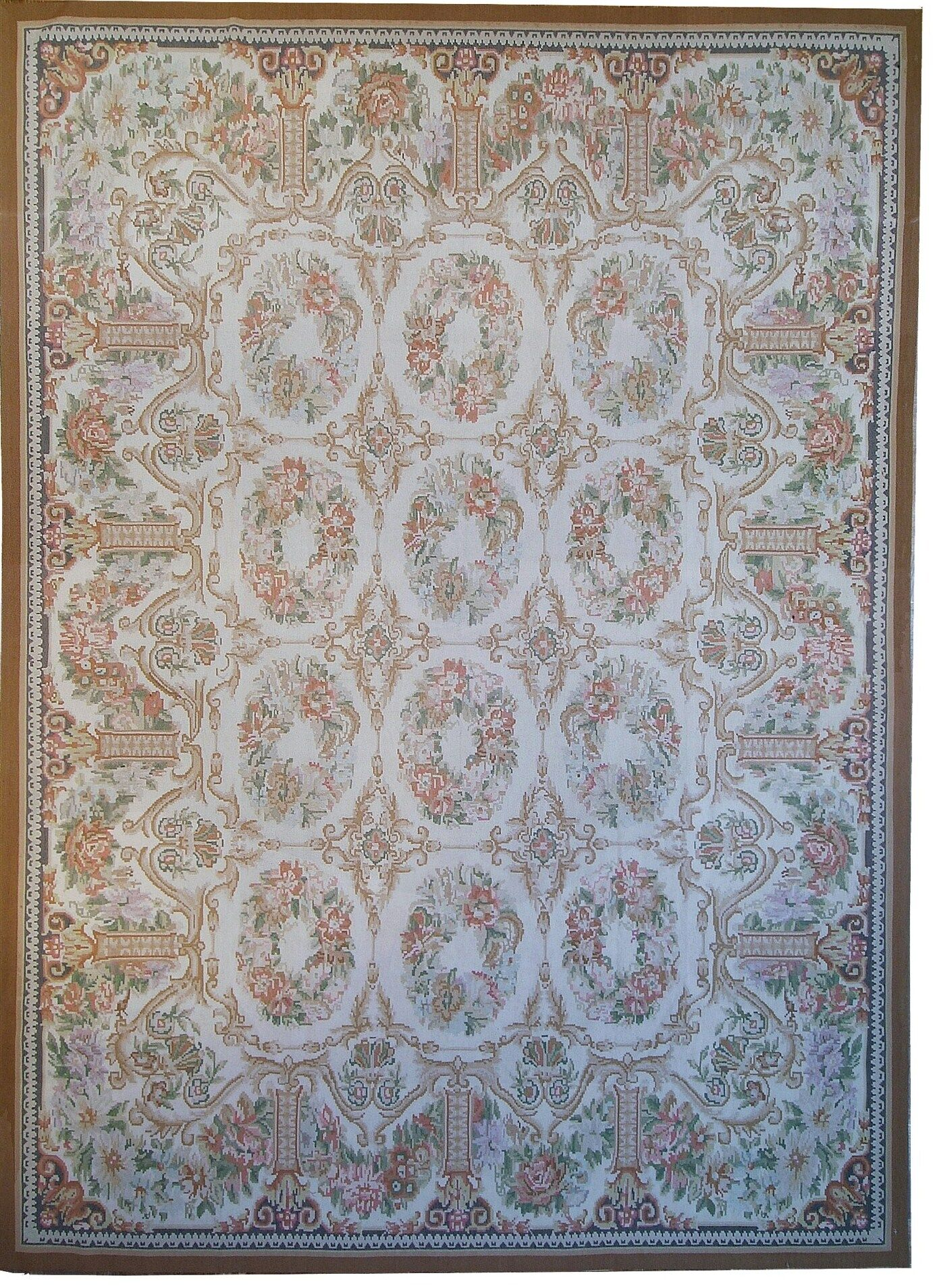 Aubusson Hand-Woven Ivory/Brown Area Rug Rug Size: Rectangle 8'10
