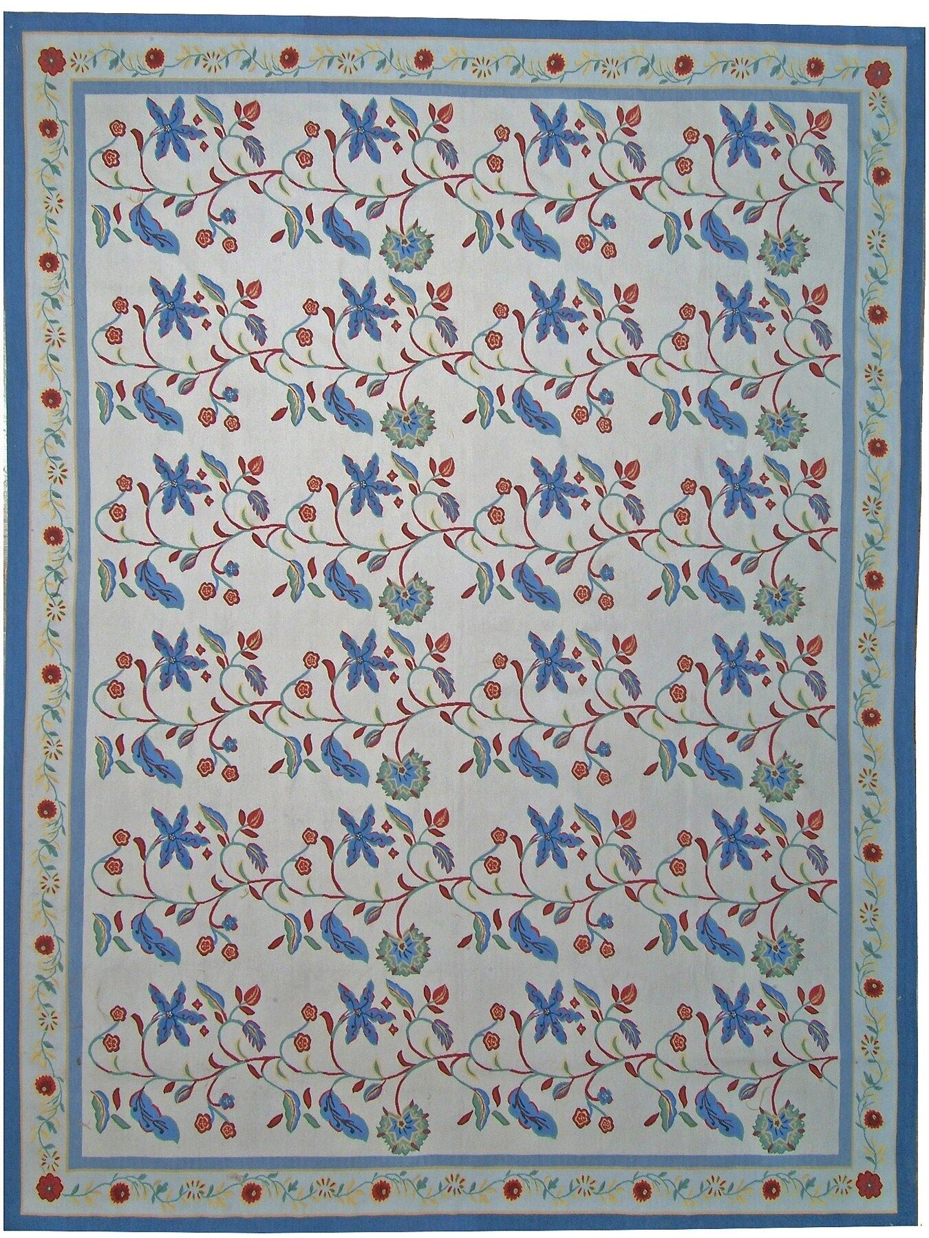 One-of-a-Kind Aubusson Hand Woven Wool Ivory/Navy Area Rug